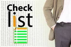 checklist. a young man in a jacket stock illustration