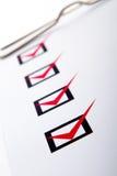 Checkliste auf Klemmbrett Stockfoto