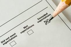 Checkliste - überstiegene Erwartungen Stockfoto