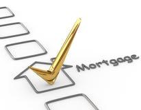 Checkliste mit Goldhypothekenkontrolle Stockfotografie