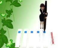 Checklistenillustration der Frau 3d Lizenzfreies Stockfoto