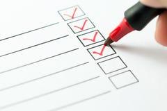 Checklistenkasten stockfoto