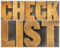 Checklistenworttypographie Stockfoto