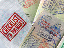 ChecklistForTravellers. Passports and reminder royalty free stock photo