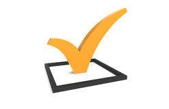 CheckMark. Orange CheckMark in Black Checkbox Royalty Free Stock Photo