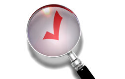 Checkmark. A magnify lens on a check mark symbol Stock Photo