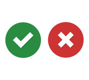 Checkmark and close. Flat icon checkmark with shadow and close with shadow vector illustration