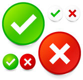 Checkmark and cross set. stock photo