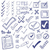 Checkmark Doodles. Checkmarks and checkboxes drawn in a doodled style Royalty Free Stock Photo
