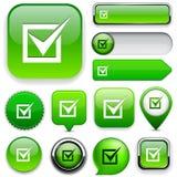 Checkmark high-detailed web button collection. Stock Image