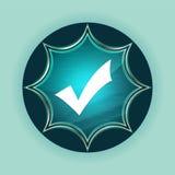 Checkmark icon magical glassy sunburst blue button sky blue background stock illustration