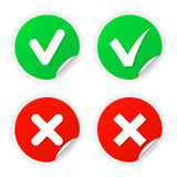 Checkmark labels with curled corners Royalty Free Stock Photos