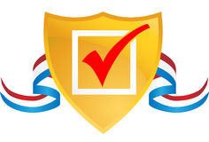 Checkmark Shield with Ribbon Stock Photography