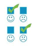 checkmark stawia czoło szczęśliwy smutnego ilustracja wektor