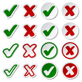 Checkmark stickers Royalty Free Stock Images