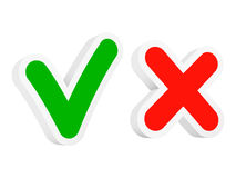 Checkmark symbols. Accept and Cancel checkmark signs. Vector illustration royalty free illustration
