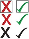 Checkmark and X. Checkmark and an X in a box, alone and in black and white royalty free illustration