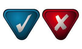 Checkmark and X Sign on Blue and Red Triangles. Stock Photo