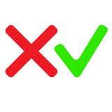 Checkmarkierung Ikonen Rote und grüne Farbe Auch im corel abgehobenen Betrag Lizenzfreies Stockfoto