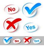 Checkmarkierung ja und Nr. Lizenzfreies Stockfoto