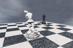 Checkmate, сломленный король на доске иллюстрация штока