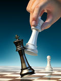 Checkmate. White queen moves to win a chess game. Digital illustration Stock Photo
