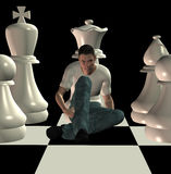 Checkmate 3d illustration. Man sitting on chessboard among team of white chess pawns. 3d illustration Royalty Free Illustration