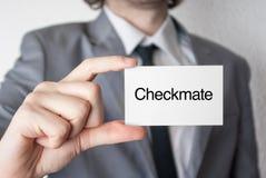 checkmate biznesowego biznesmena karciany seans Obrazy Stock