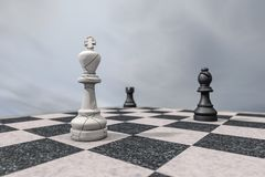 Checkmate,a broken king on a chessboard. 3d rendering Stock Images
