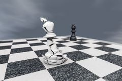 Checkmate,a broken king on a chessboard. 3d rendering Stock Image