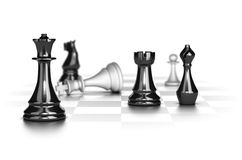 Checkmate, Business Strategy Concept. Chess game with the white king in checkmate over white background, conceptual image suitable for business strategy Royalty Free Stock Image