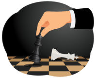 Checkmate. Businessman playing chess game. Checkmate move on king. Business strategy concept Royalty Free Stock Image