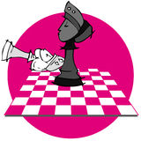 King Queen Checkmate: Chess game, Cartoon. Chess game on cartoon style Stock Image