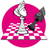 Queen King Checkmate: Chess Game, Cartoon. Chess game on cartoon style Royalty Free Stock Image