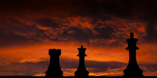 Checkmate. Chess pieces in checkmate. Rook and Queen Vs. King royalty free illustration