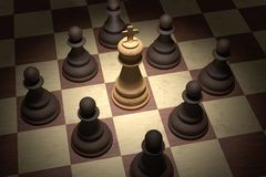 Checkmate in chess. White king is surrounded by black pawns. 3D rendered illustration.  Stock Photography