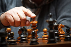 Checkmate. Close up winning chess move, checkmate royalty free stock images