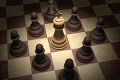 Checkmate na xadrez O rei branco é cercado por penhores pretos 3D rendeu a ilustração ilustração do vetor