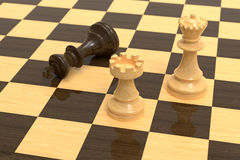 Checkmate on wooden board Stock Photography