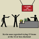 Checkout. Kevin soon regretted trying thirteen items at the twelve items checkout Stock Image