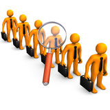 Checkout. Employees would be checked with loupe. White background Stock Photos