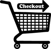Checkout Cart Graphic. A graphic with a shopping trolley indicating `Checkout Stock Photo