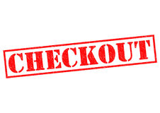 CHECKOUT. Red Rubber Stamp over a white background Stock Image