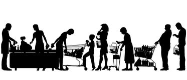 Checkout till. Editable vector silhouettes of people in a supermarket checkout queue with all elements as separate objects Royalty Free Stock Image