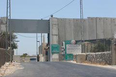 Checkpoint. Welcome to Jerusalem, crossing through the separation Barrier at Bethlehem, Israel royalty free stock images