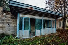 The checkpoint of abandoned factory of radio components. Entrance to the abandoned enterprise Stock Image