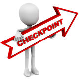 Checkpoint arrow. Held up in red color by a little 3d man against white background stock illustration
