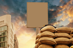 Checkpoint with blank Signboard and Sandbags Stock Image