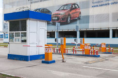 Checkpoint by the car parking in the airport terminal Kurumoch Royalty Free Stock Photography