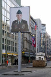 Checkpoint charlie berlin. Checkpoint charlie between east and west berlin, germany stock photo